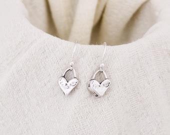 Cute Heart Earrings, Sterling Silver Heart Earrings, Valentine's Day Gift, Heart Jewelry, Gifts for Her