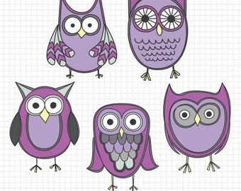 Purple Owl Clipart, Cute Clip Art Owls, Animal Clipart, Instant Download, Digital Art