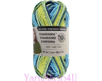SUNNY DAY. Bulky Charisma Loops and Threads Yarn. This Variegated Green / Blue Ombre Yarn is 3.5oz 109yds. A Chunky Thick Soft Acrylic Yarn