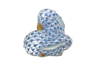 Blue Herend Bunny Rabbits Porcelain Animal Figurine