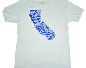CALIFORNIA FISH LOVE - Light Blue - Blue Ink - T-shirt - Salmon - Bill Fish - Sea Bass - Trout - Rock Fish - Tuna - Golden State - by uroko