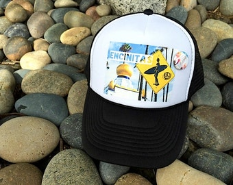 Trucker Hats, SWAMIS ENCINITAS, limited ed. w custom made Pin Back button, One Size Fits All, foam trucker hat, Surf, Best Seller