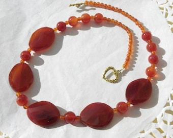 50 cm natural orange carnelian with beautiful gemstones necklace