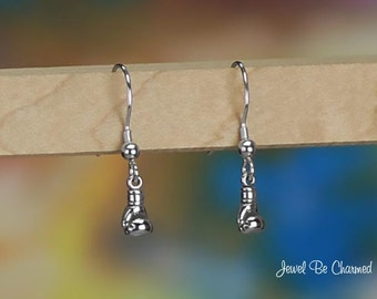 Tiny Sterling Silver Boxing Glove Earrings Pierced Fishhook Solid .925