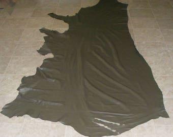 FEE9055-4) Side of Dark Green Brown Cow Leather Skin
