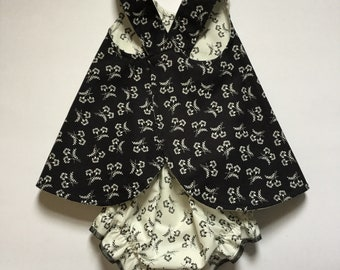 Baby Pinafore, Matching Bloomers, Baby Outfit, Size 12 month, Baby Girl Dress, Summer Dress, Black and White, Criss Cross Straps, Reversible