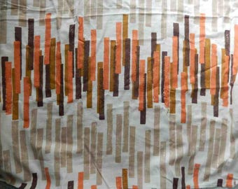 "1960s linen Fabric Remnant Original Screen Print by Walter Fabrics Mid-Century 52'x52"""