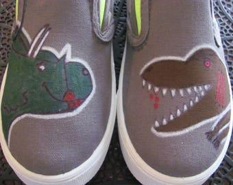 Custom hand painted dinosaur shoes