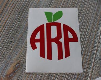 Apple Monogram Car Decal - Monogram Apple Car Decal - Monogram Car Decal - Car Decal - Apple Decal - Monogram Apple Decal - Teacher Monogram