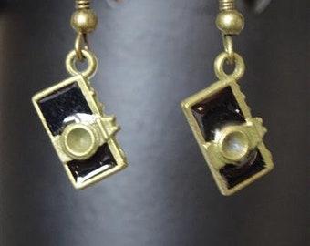Bronze camera earrings