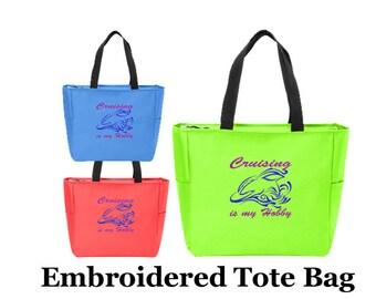 Cruise theme Tote Bag. Embroidered tote bag