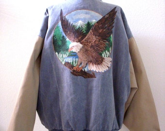 Vintage 90s Denim Jacket Hand Painted Eagle  Seminole Indian Casino Tampa Jacket - Blue Taup Jean Jacket - Mens XX Large