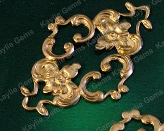Raw Brass Ornametal Decorative Filigree Stamping Floral Flower Victorian Ornate - SF232 - 2pcs