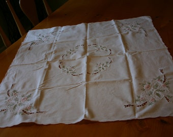 """Beautiful 32"""" by 34"""" Embroidered, Appliqued and Cut Work White Table Cloth"""