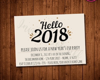 browse more items from etsy favourite favourited add to added hello 2018 printable new years eve party invite