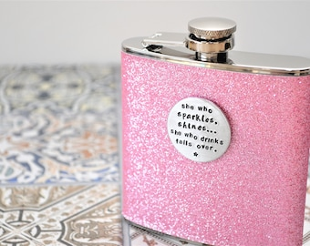 Pink Sparkly Glitter Hip Flask - with Initial