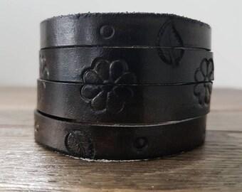 Womens leather cuff bracelet adjustable. Leather cuff women, adjustable.