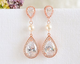 Rose Gold Wedding Earrings, Crystal Bridal Earrings, Swarovski Pearl Earrings,Teardrop Dangle Earrings, Old Hollywood Bridal Jewelry, FAYE