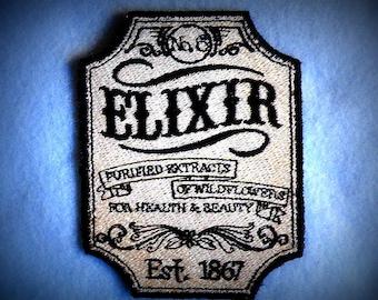 "Apothecary Elixir No.6 Iron on Patch 2.96"" x 3.86"""