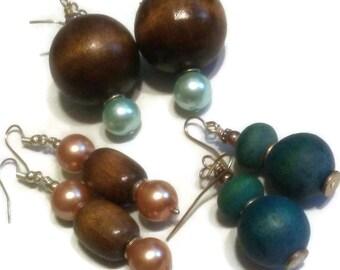 Set Wood Earrings pearl wood earrings
