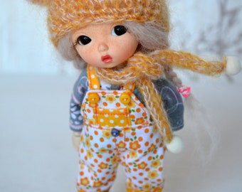 Lati Yellow/ PukiFee dolls outfit - Hat, Scarf, Overall, Top, Socks