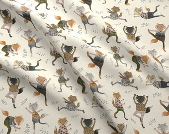 Fox Trot Fabric - Fox Trot On Cream By Katherine Quinn - Fox Trot Dancing Animals Woodland Boogie Cotton Fabric By The Yard With Spoonflower