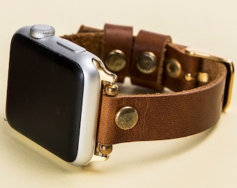 Apple Watch Band Thin, Brown Feminine, iWatch Band, 38mm, 42mm, Apple Watch Band, Leather Band, Lazer, Initials, Gift Wrapping Avaliable