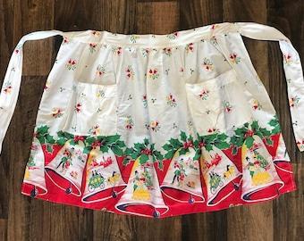 Classic Vintage 1950s Christmas Bells Apron