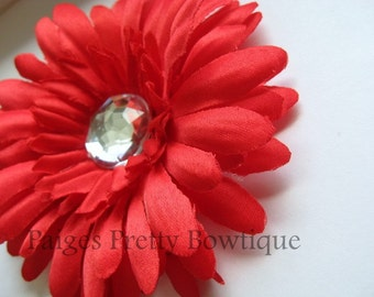"CLOSEOUT-4"" Red Gerbera Daisy Clip-Flower Hair Clip-Alligator Clip"