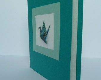 Handmade Blank Card with Framed Origami Crane (chiyogami and linen card stock)