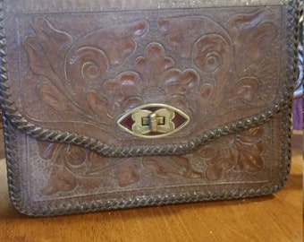 Vintage Hand Tooled leather purse circa 1940's