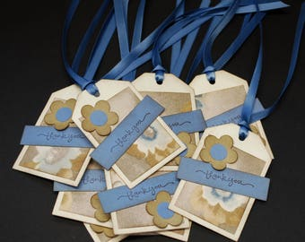 Blue and Brown Floral thank you tags, decorative tags, set of 10, distressed, gift tags, hang tags, paper goods, thanks, blue, flowers