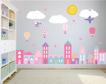 Stadt-Wandtattoo Wand Aufkleber Kinderzimmer Baby Wandtattoo