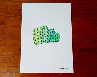 Cactus painted in watercolor on 13 x 18 cm / / Illustration / / gift for her / / wall decor / / Fan of cactus