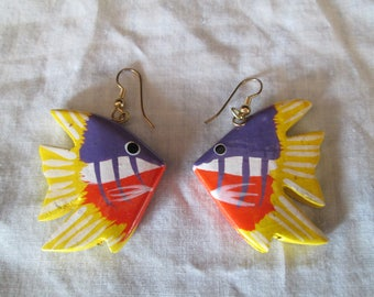 Hand carved and painted wood cute Tropical Fish earrings