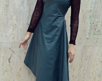 Forest Green Leather Dress / Extravagant Forest Green Dress / Asymmetrical Leather Dress / Wool Hooded Dress TDK223 JAZZ UP!