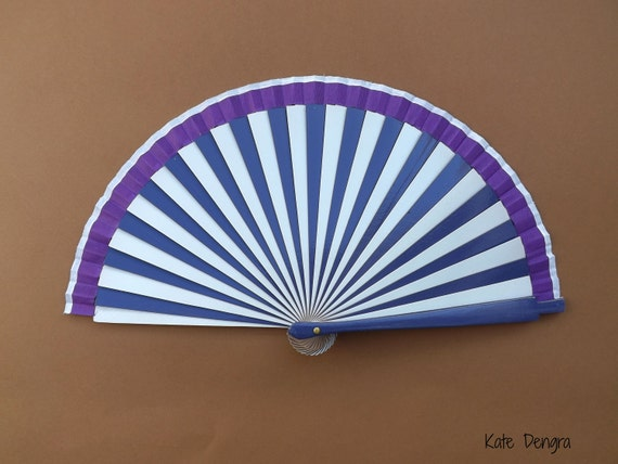 Purple and White Stripe 19cm Hand Fan
