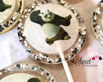 Fighting Panda Bear Lollipops- Kung Fu Party Favors-Hard Candy Lollipops  Panda Lollipops- Wedding favors- Bridal shower favors- Baby Shower