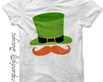 Iron on Leprechaun Shirt PDF - Red Mustache Iron on Transfer / Boys St Patrick's Day Outfit / Baby Leprechaun Hat Tshirt / Printable IT382