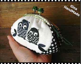 Forest owl coin purse / coin bag / Metal frame purse / Coin Wallet / Pouch / Kiss lock frame bag -GinaHandMade