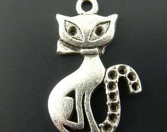 5 charms/pendants 16X25mm cat (to 1 mm rhinestones)