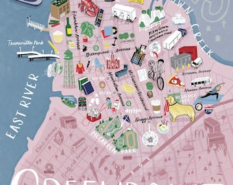 Greenpoint, Brooklyn - Illustrated Color Map