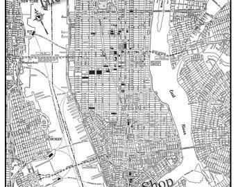 New York City Map - Manhattan Street Map Vintage