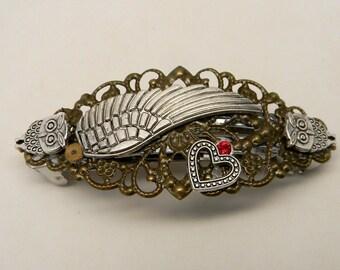 Steampunk jewelry, Steampunk angel wing hair barrette.