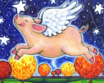 Fall Pig - 5x7 Whimsical Autumn Flying Pig Print
