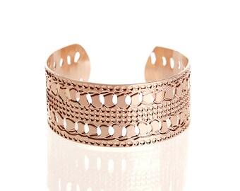 rose gold bracelet cuff, dainty rose gold bracelet, delicate rose gold bracelet, thin rose gold bracelet, hammered rose gold cuff bracelet