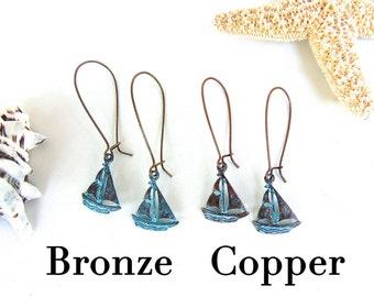 Sailboat Earrings - Dangle Nautical Earrings in Antiqued Oxidized Bronze or Copper