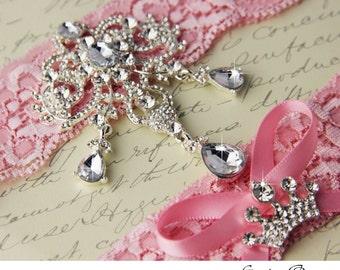 Wedding Garter Set Bridal Garter Pink Stretch Lace Keepsake and Toss garters, Rhinestone and Crystal garters