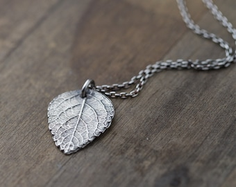 Rustic Leaf Necklace in Sterling Silver | Outdoors Gift | Botanical Silver Necklaces for Women | Handmade Jewelry by Burnish