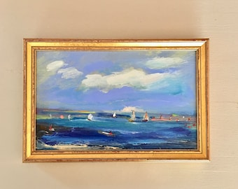 Beach Painting- Framed- Small Painting -Boats- Distance- Original Painting- 6-1/2  x 9-1/2  inch- including Frame -  Collectible - Fine Art